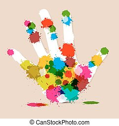 Splash Palm Hand Colorful Vector Illustration