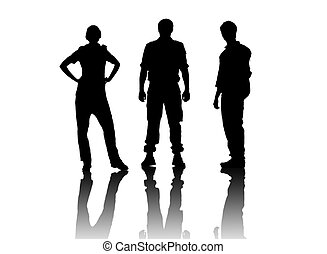 silhouettes over white - silhouettes of young confident...