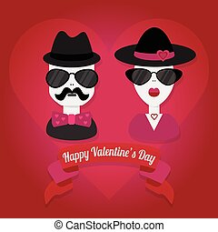 Happy Valentines Day hipster couple - Hipster couple with...