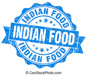 indian food blue grunge seal isolated on white