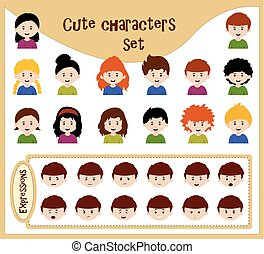collection of cute avatars - cute character set with various...