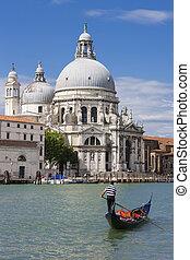 Gondola on Canal Grande with Basilica di Santa Maria della...