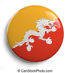 Bhutan flag icon. Clipping path included.