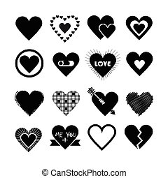 Black silhouette heart icons set - Assorted designs of black...