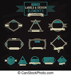Thin line labels and design elements - Thin line labels and...