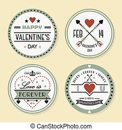 Valentines day and romantic badges set on beige background