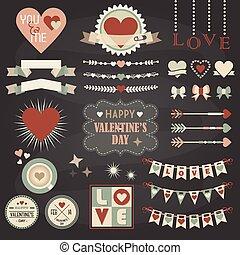 Valentines Day design elements set