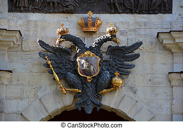 Coat of arms of Russian empire above the gates of Peter and...