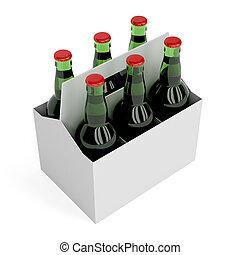 Lager beer bottles - Six pack of lager beer bottles on white...