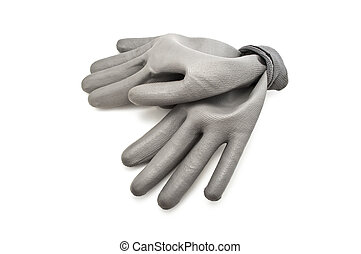 gray work gloves isolated on white background, simple work...
