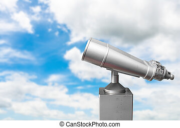 steel binoculars over blue sky and clouds