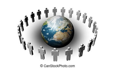 People in a circle turning around the planet