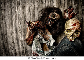 massacre - Frightening bloody zombie girl with a skull....