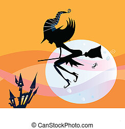 Halloween witch silhouette - Flying halloween witch...
