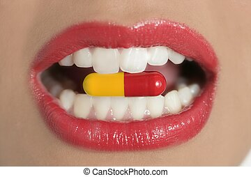 Beauty woman mouth with medicine pill - Beauty woman mouth...