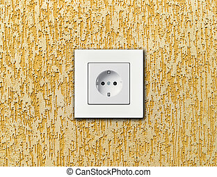 white electric socket on wall - one electric socket, white...