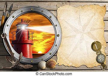 Adventurous Journeys Background - Porthole with lighthouse...