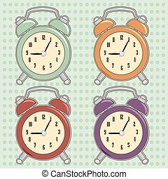 Print - retro clock background, illustration in vector...