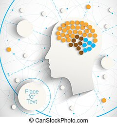 Head with brain - Creative infographic template with humn...