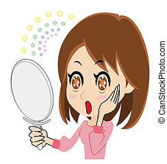 woman who is delighted to watch a mirror