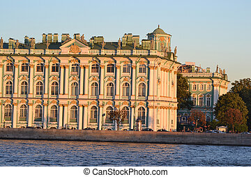 Winter Palace, StPetersburg - The Winter Palace at evening,...