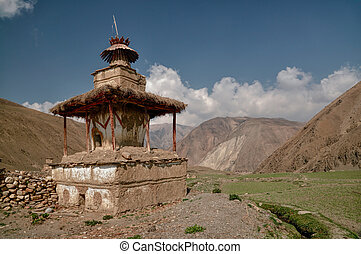 Buddhist shrine - Scenic old shrine in Himalayas mountains...