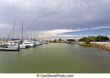 Approaching Storm - Storm approaching over the marina at...