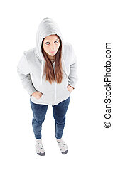 Sad teenager girl with gray sweatshirt hooded isolated on...