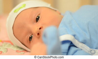Close-up Newborn Baby Sneezing - Close up Newborn Baby...