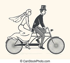 Bride and groom riding a bicycle - Illustration of bride and...