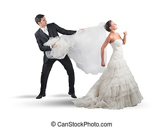 Bridal veil - Husband pulls the veil to the bride