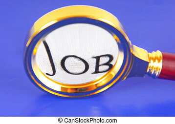 magnifying glass job concept on blue background