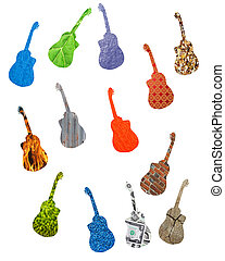many colored guitars isolated on the white background