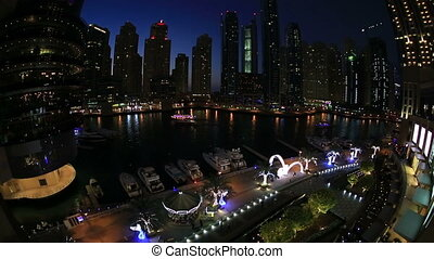 Dubai at Night - Futuristic Dubai at United Arab Emirates...