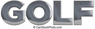Golf Title - Golf word metal title isolated.