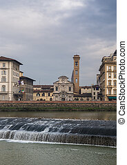 Ognissanti church in Florence and Arno river kiddle - The...