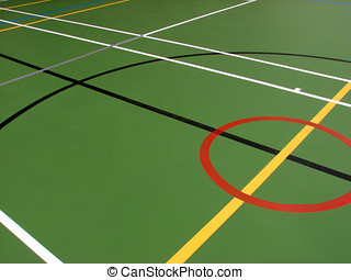 Sports hall floor markings - Indoor sports hall showing...