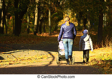 woman with perambulator and elder child in the park - woman...