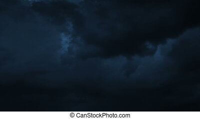 Thunderstorm Clouds at Night with Lightning. HD 1080.