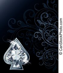 Diamond poker spades card, vector illustration