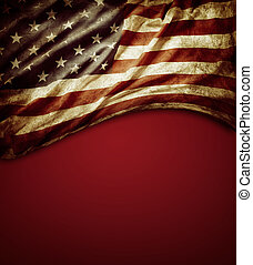 American flag - Grunge American flag on red background