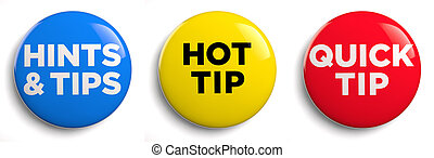Hot Tip - Hot tip and hints and tips icons. Clipping path...