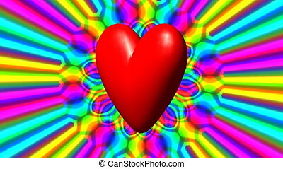 Love heart seamless loop - Love heart with rainbow waves...