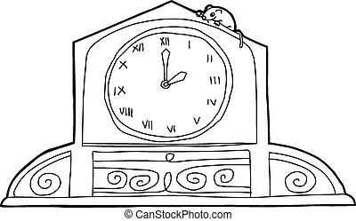 Clock with Roman Numerals and Mouse