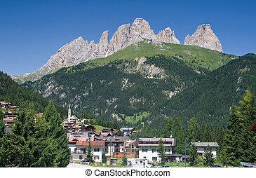 Alba di Canazei, val di Fassa - panorama of Alba di Canazei...