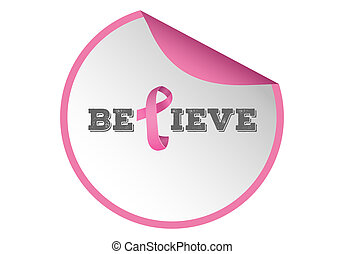 Breast cancer awareness message of hope on white background