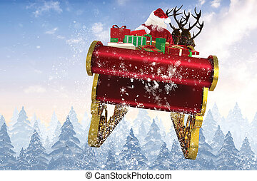 Composite image of santa flying his sleigh - Santa flying...