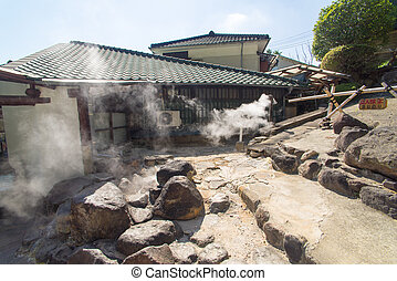 Many house around hot spring water boiling, Beppu, Oita,...