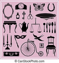 Vintage objects of old era - Set of design elements -...