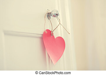 Hand crafted heart hanging from door knob - Hand crafted red...